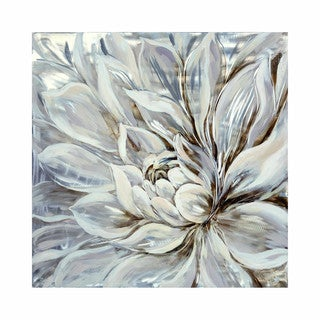 Aurelle Home Dana White Flower Wall Canvas Decor