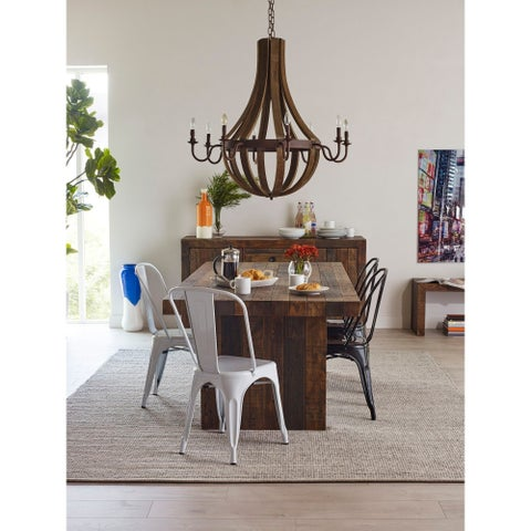 Aurelle Home Large Reclaimed Wood and Cast Iron Chandelier