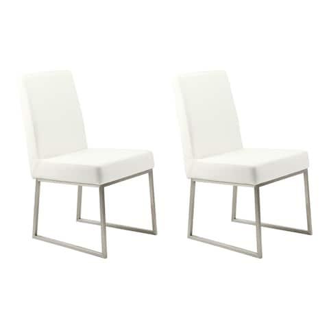 "Aurelle Home Seville Modern White Dining Chair - 28"" x 32"" x 21"""