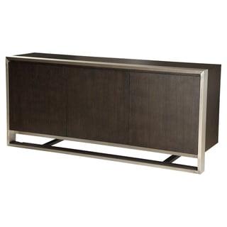 Aurelle Home Brown Oak and Stainless Steel Sideboard