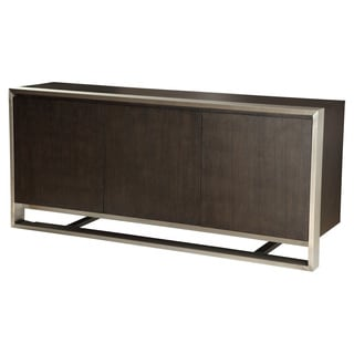 Aurelle Home Grace Brown Oak and Stainless Steel Sideboard