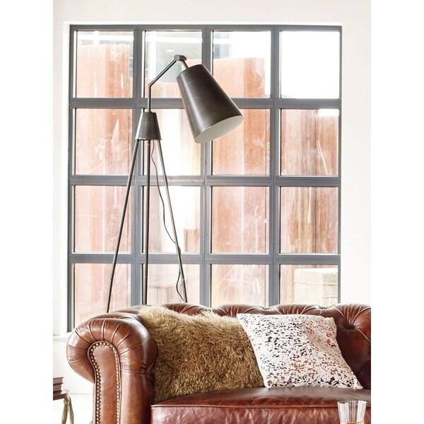 Aurelle Home Heather Vintage Brass Tripod Floor Lamp