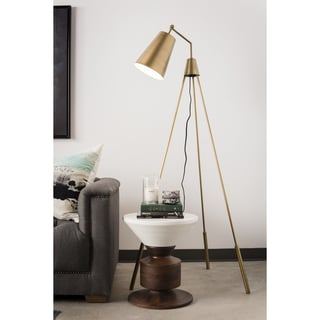 Aurelle Home Dylan Brass Floor Lamp
