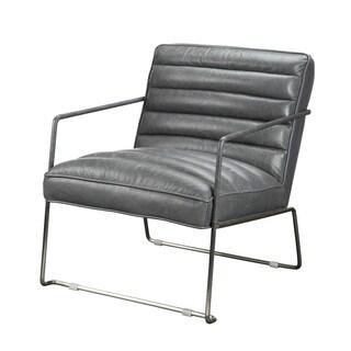 Aurelle Home Wallas Grey Leather Club Chair