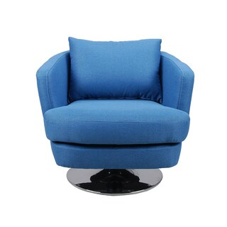 Aurelle Home Omega Blue Fabric Swivel Chair