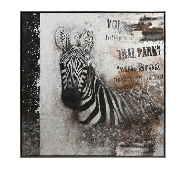 Framed Safari Zebra Oil on Canvas