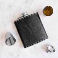 Personalized Black Leather Wrapped Flask Set