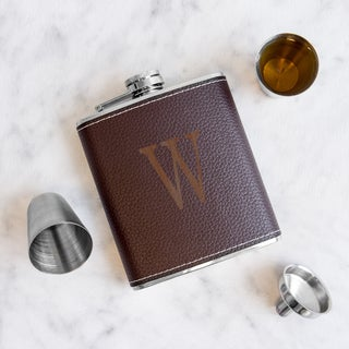 Personalized Brown Leather Wrapped Flask Set (More options available)