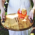 Personalized Rustic Wood Tray with Metal Handles