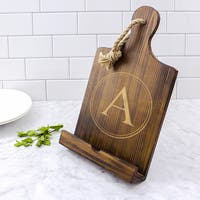 Personalized Brown Wooden iPad and Recipe Stand