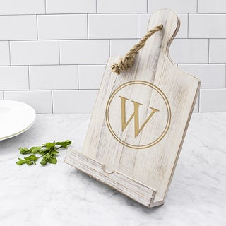 Personalized White Wooden iPad and Recipe Stand