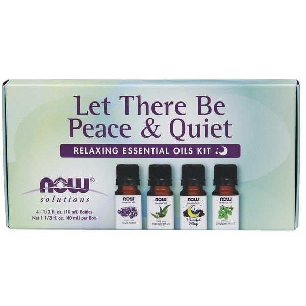 Now Foods 4 piece Let There Be Peace and Quiet Relaxing Essential Oil Kit. Opens flyout.