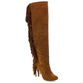 NATURE BREEZE HIGHPOINT-01H Women's Fringe Elastic Stiletto Over Knee High Boots