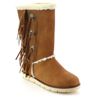 NATURE BREEZE MAMMOTH-02 Women's Faux Fur Fringe Trim Slip On Boots