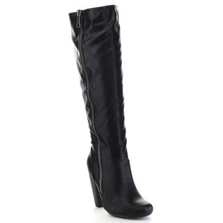 Bamboo MOZZA-24 Women's Round Toe Side Zipper Chunky Heel Knee High Boots