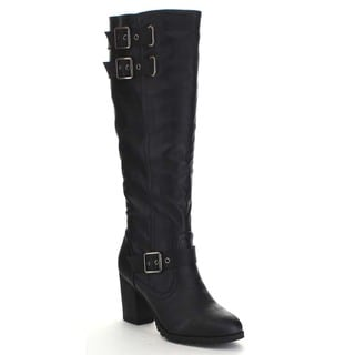 Bamboo RATTLE-16 Women's Triple Buckle Strap Lug Sole Chunky Heel Knee High Boot