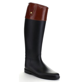 QUPID Women's Waterproof Two Tone Knee High Rain Boots