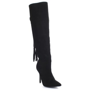 QUPID MIXI-101 Women's Tassel Fringe Pointy Toe Stiletto Heel Knee High Boots