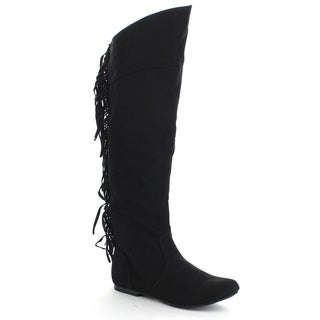 QUPID NEO-162 Women's Suede Back Fringe Asymmetrical Almond Toe Knee High Boots