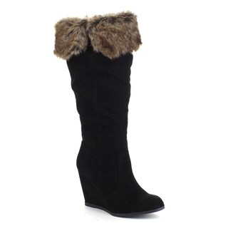 QUPID NOYA-01 Women's Faux Fur Collar Wedge Heel Side Zipper Knee High Boots