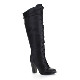 QUPID REBORN-20 Women's Almond Toe Lace Up Chunky Heel Combat Knee High Boots