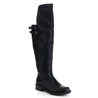 QUPID RELAX-137 Women's Motorcycle Flat Heel Buckle Strap Knee High Boots