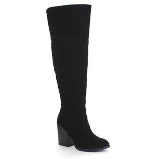 QUPID TORO-08 Women's Slit Pull On Side Zipper Chunky Heel Knee High Boots