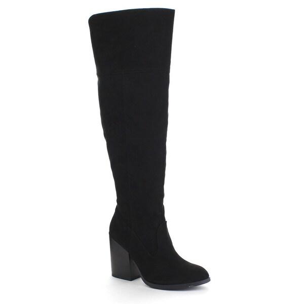 QUPID TORO-08 Women's Slit Pull On Side Zipper Chunky Heel Knee High Boots