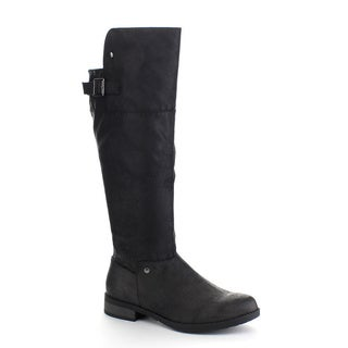 QUPID TURNER-25 Women's Burnished Buckle Almond Toe Riding Knee High Boots