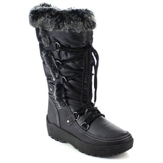 Nature Breeze Frost-01 Women's Stitching Faux Fur Lace Up Mid-calf Snow Boots