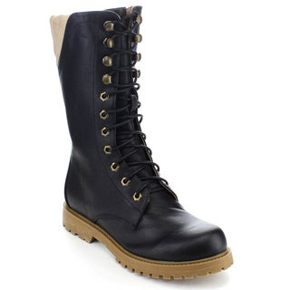 Spirit Moda Edna-3 Women's Cool Military Combat Lace Up Mid Calf Boots