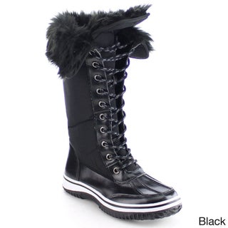 NATURE BREEZE FROST-02 Women's Lace Up Faux Fur Collar Tongue Flat Winter Boots (More options available)