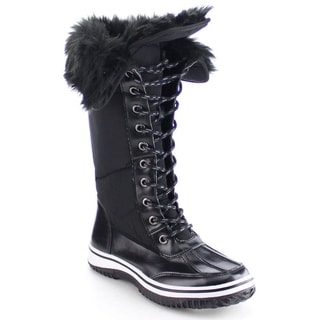 NATURE BREEZE FROST-02 Women's Lace Up Faux Fur Collar Tongue Flat Winter Boots