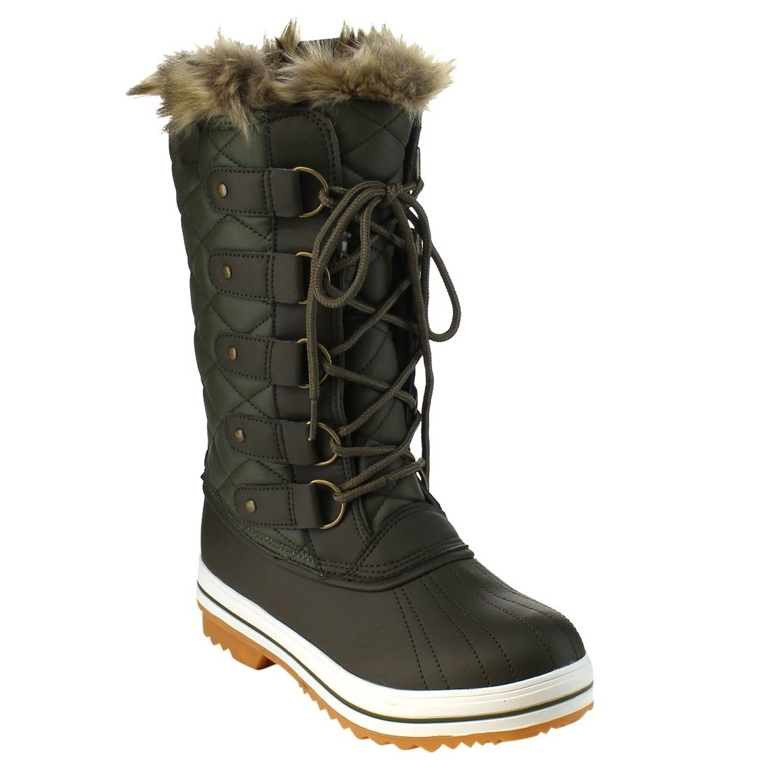 Women's Swiss Lace Up Quilted Mid Calf Winter Snow Boots