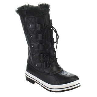 NATURE BREEZE FROST-03 Women's D-ring Lace Up Quilted Mid Calf Winter Snow Boots