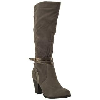Spirit Moda Fiona-4 Women's Buckle Strap Chunky Heel Knee High Riding Boots
