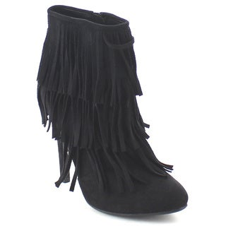 NATURE BREEZE HIGHPOINT-03 Women's Three-Layer Fringe Zip Up Stiletto Ankle Bootie