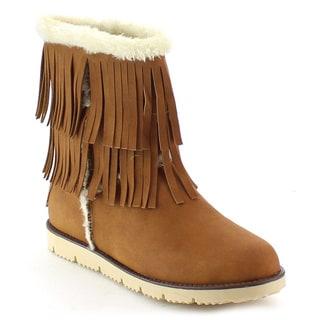 NATURE BREEZE MAMMOTH-01 Women's Faux Fur Fringe Slip On Flat Booties