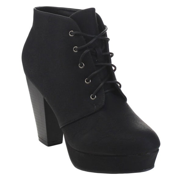 BELLA MARIE GOLDIE-11 Women's Fashion High Chunky Heel Platform Lace Up Booties