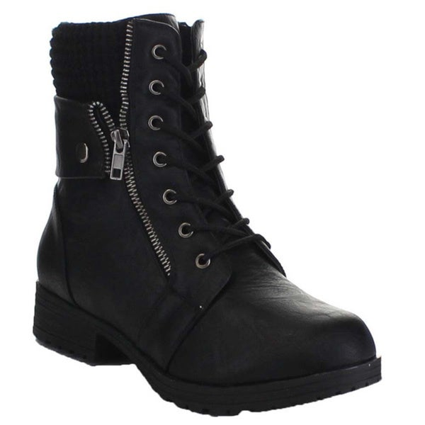 Bamboo Women's Lace Up Side Zip Sweater Cuff Combat Boots