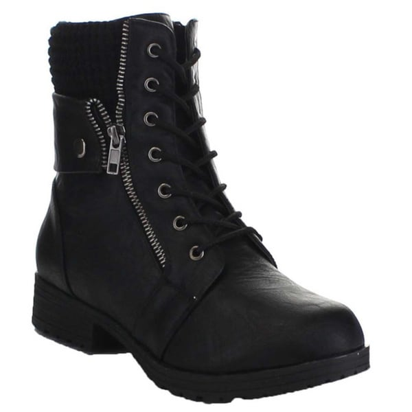 Shop Bamboo Womens Lace Up Side Zip Sweater Cuff Combat Boots