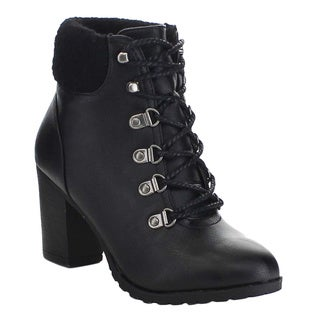 Bamboo RATTLE-17 Women's Lace Up Back Sweater Puff Chunky Heel Ankle Booties