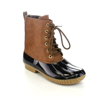 AXNY DYLAN Women's Lace Up Two-tone Calf Rain Duck Boots