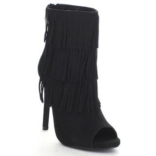 DELICIOUS GAIN Women's Peep Toe High Stiletto Heel Fringes Zip Up Ankle Booties