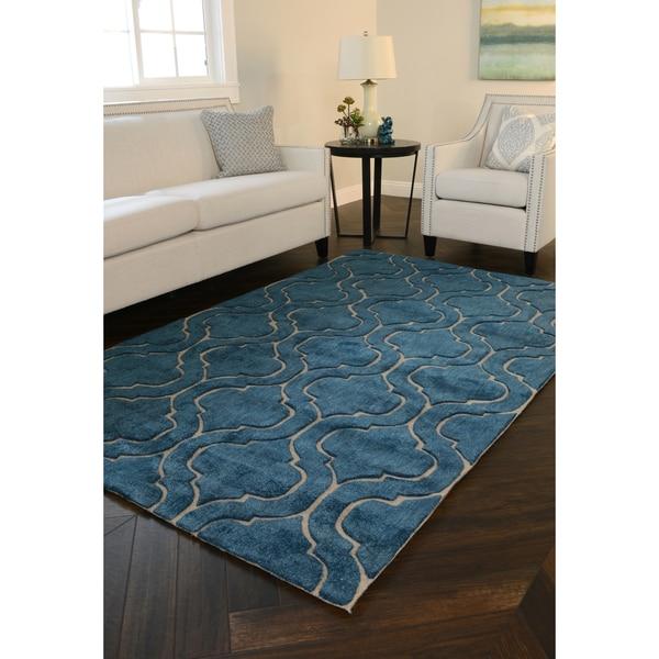 Kosas Home Handwoven Simba Wool Blue Rug (5' x 8') - 5' x 8'