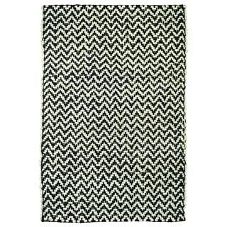 Zig Herringbone Black/Bleach Rug (5' x 8')