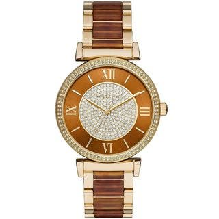 Michael Kors Women's MK3411 'Catlin' Crystal Two-Tone Stainless Steel Watch|https://ak1.ostkcdn.com/images/products/10577620/P17653636.jpg?impolicy=medium