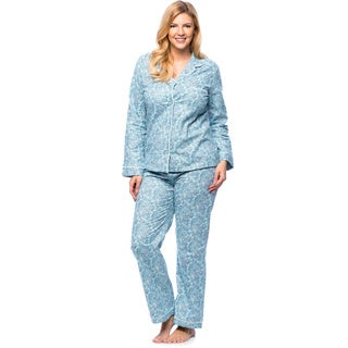 White Mark Women's Plus Size Paisley Print Slim-Fit Flannel Pajama Set