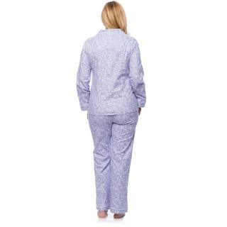 White Mark Women's Plus Size Paisley Print Slim-Fit Flannel Pajama Set