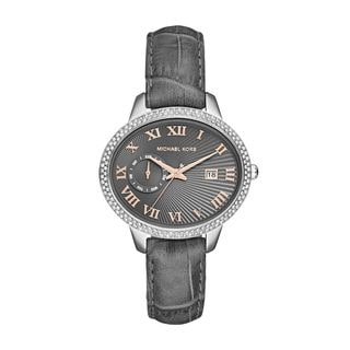 Michael Kors Women's MK2427 'Whitley' Crystal Grey Leather Watch